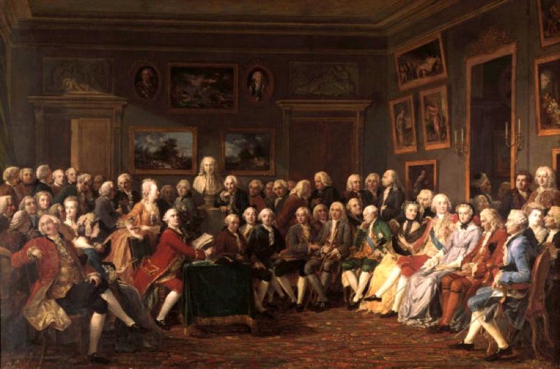 G.Lemonnier, Soiree bei Mme.Geoffrin - Soiree (Salon) at Mme Geoffrin - Lemonnier, Anicet-Charles-Gabriel , 1743